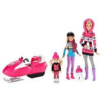 Игровой набор кукла Barbie Барби и её Сестры Снежная забава на снегоходе в зимней одежде, фото 2