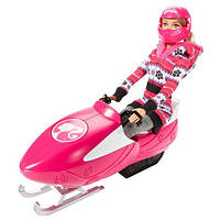 Игровой набор кукла Barbie Барби и её Сестры Снежная забава на снегоходе в зимней одежде, фото 3