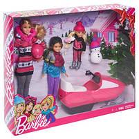 Игровой набор кукла Barbie Барби и её Сестры Снежная забава на снегоходе в зимней одежде, фото 5