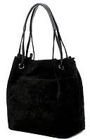 Женская замшевая сумка 520 Большая черная женская замшевая сумка-мешок