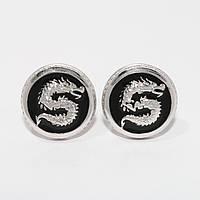 """Серебряные запонки """"Дракон"""" 6100028"""