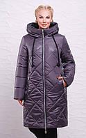 Зимнее пальто-пуховик   М-191 графит (р.50-66)