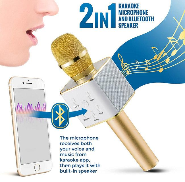 Микрофон Караоке со встроенным динамиком  Q7 (Беспроводной / Bluetooth) Золотой  - «Качество-Гарант» в Киеве