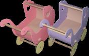 """Деревянная игрушечная коляска """"Вулик"""""""