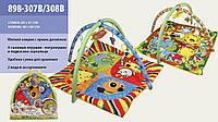 Коврик Развивающий для младенца мягкий с подвесками 898-307-308B, 2 вида