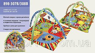 Килимок Розвиваючий для дитини м'який з підвісками 898-307-308B, 2 види