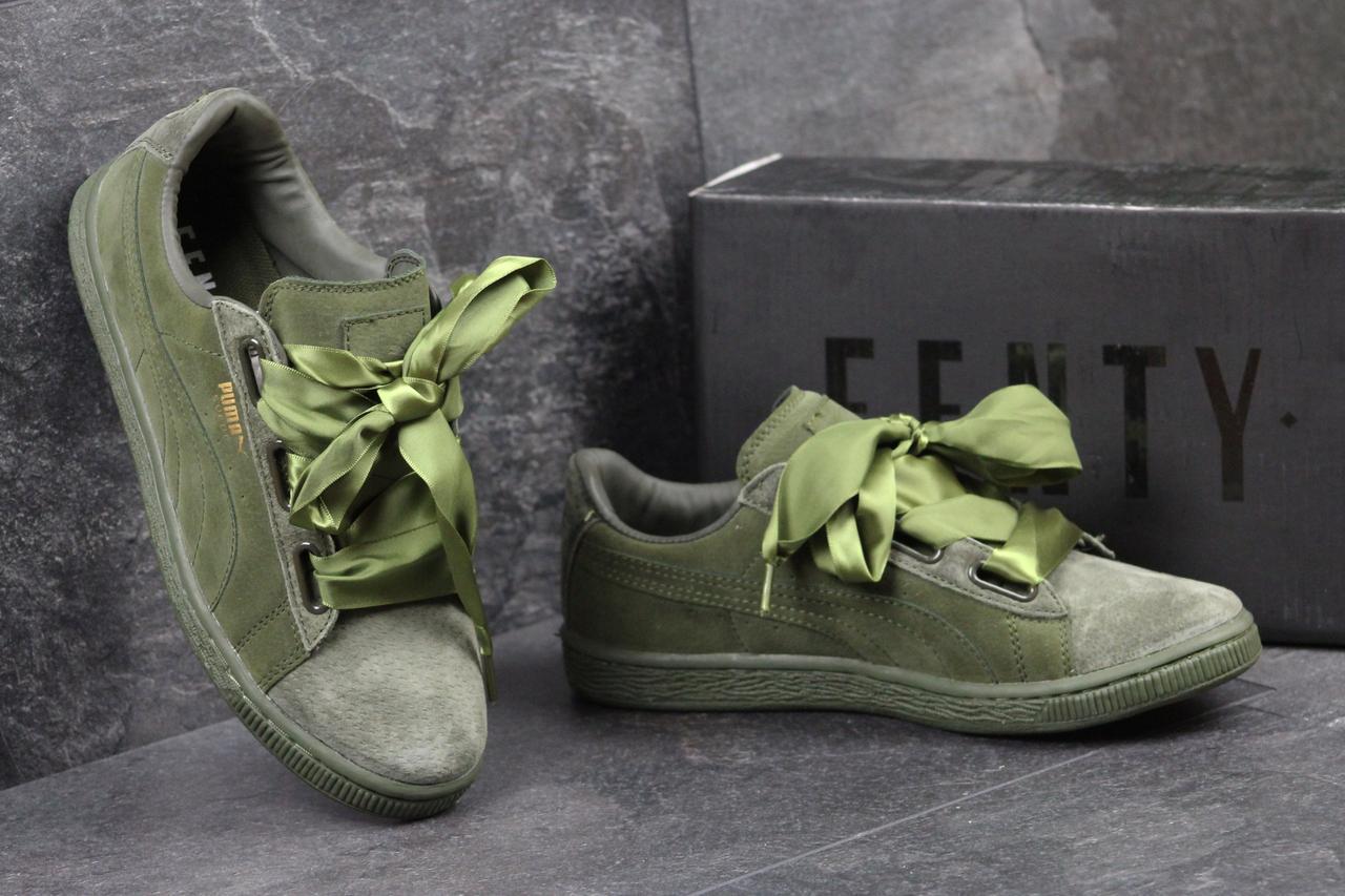 dc340a11b053 Puma Suede Bow женские замшевые кроссовки зеленые (Реплика ААА+) -  bonny-style