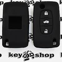 Чехол (черный, силиконовый) для выкидного ключа Citroen (Ситроен) 3 кнопки