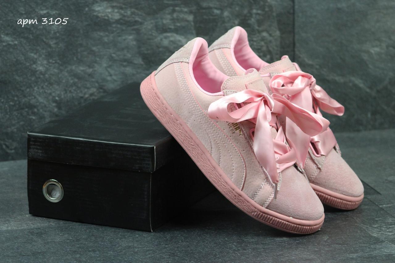 416c3a4f Женские кроссовки Puma Suede Bow розовые в фирменных коробках (Реплика ААА+)