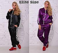 Костюм повседневный спортивный с лампасами кофта на молнии и брюки большие размеры 3 цвета DBTor03, фото 1