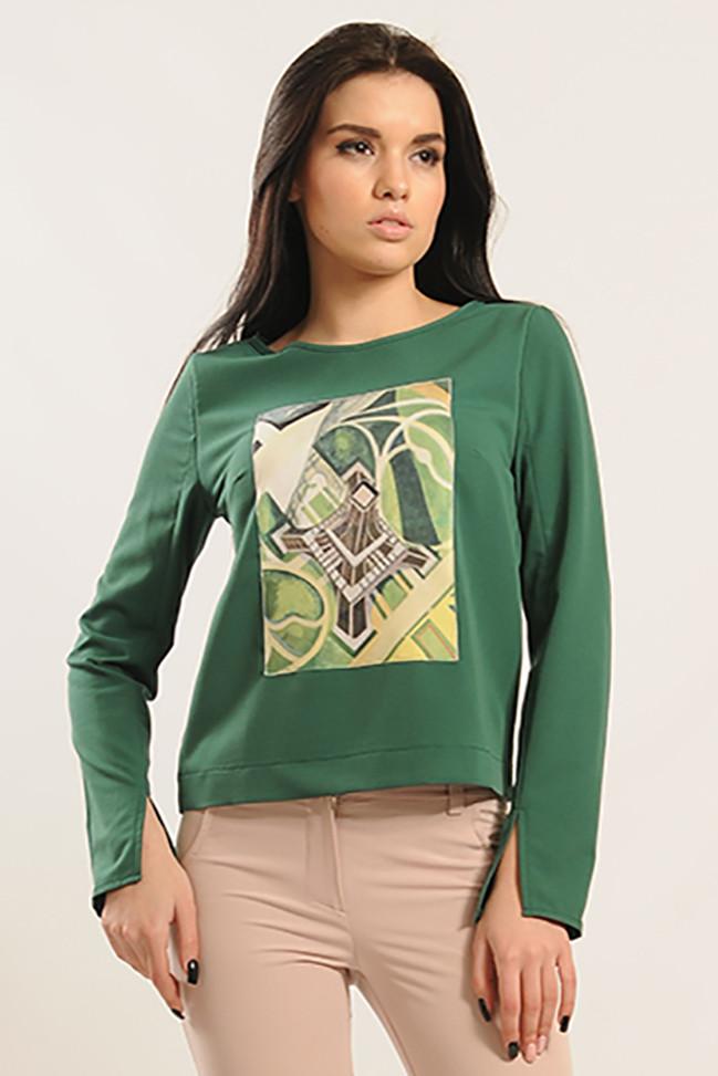 Блуза Париж цвет зеленый Ри Мари 42-52р.