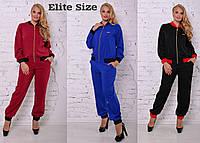 Костюм HERMES женский модный кофта на молнии и брюки креп-костюмка большие размеры 3 цвета DBTor04, фото 1