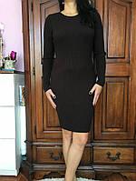 Вязаное платье шоколадного цвета, 38-46 р-ры, 350/320 (цена за 1 шт. + 30 гр.)