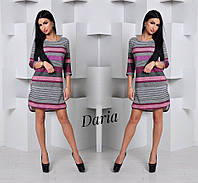 Женское трикотажное платье  в полоску в разных цветах