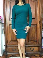 Теплое платье, цвет - изумруд, 38-46 р-ры, 350/320 (цена за 1 шт. + 30 гр.)