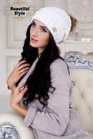 """Зимова жіноча шапка """"Ейфорія"""" біла"""