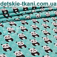 Польская бязь с чёрными пандами на тёмно-мятном фоне (№915а)