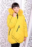 Зимняя детская  куртка для девочки Элма желтая