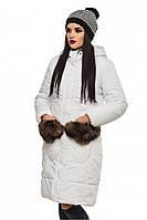 """Зимняя белая куртка с меховым оформлением на карманах и капюшоне """"Эля"""""""