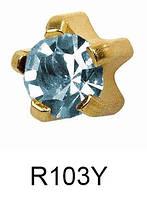 Серьги для прокола мочки уха R103Y Март Аквамарин c золотым покрытием