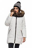 """Женская зимняя куртка с натуральной опушкой белого цвета """"Барбара"""""""