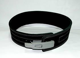 Пояс для пауэрлифтинга кожаный 2-хслойный с карабином, р-р L  (69-95 см)
