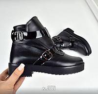 Демисезонные ботиночки в стиле HeRmes, Натуральная кожа, цвет - ЧЁРНЫЙ, внутри байка