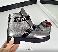 Демисезонные ботиночки в стиле HeRmes, Натуральная кожа, цвет - НИКЕЛЬ, внутри байка