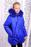 Зимняя детская  куртка для девочки Элма синий электрик