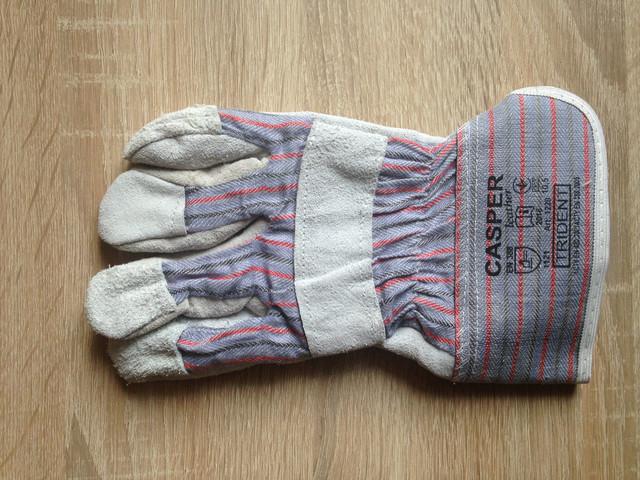 Перчатки комбинированные из кожи и спилка
