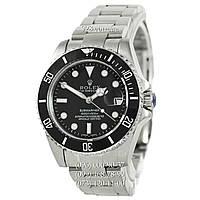 Элитные мужские часы Rolex Submariner AAA Date Silver-Black (механические с автоподзаводом)