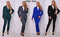 Костюм деловой тройка пиджак на подкладке, блузка и брюки большие размеры 4 цвета DBTor05