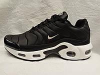 Женские кроссовки  Nike air max 95 Tn plus черные c белым кожа