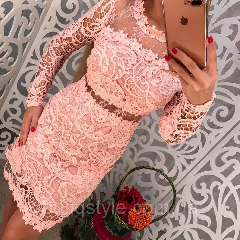 Красивое вечернее платье с кружевом и органзой только розовое 44 размер