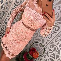 Красивое вечернее платье с кружевом и органзой только розовое тренд 2018 года