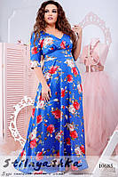 Шикарное платье в пол для полных индиго с цветами, фото 1