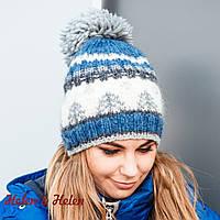 Теплая женская шапочка с помпоном