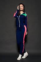 Женский молодежный спортивный костюм. Код модели КС-16. Цвет темно синий с розовым.