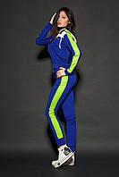 Женский молодежный спортивный костюм. Код модели КС-16. Цвет ярко синий с лимонным.