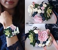"""Браслет """"Зеленый суккулент с розами черникой и гипсофилой"""", фото 1"""