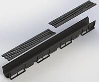 Лоток водосточный пластиковый DN100 H90  с пластиковой решёткой