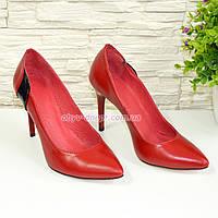 Женские классические кожаные красные туфли на шпильке!  37 размер