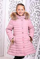Красивая зимняя  куртка для девочки Маргарита пудра