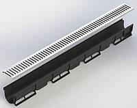 Лоток водоотводный пластиковый DN100 H90  с оцинкованной решёткой