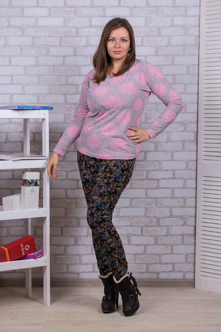Женские цветные штаны на меху Nanhai A899-3 5XL. Размер 52-56.
