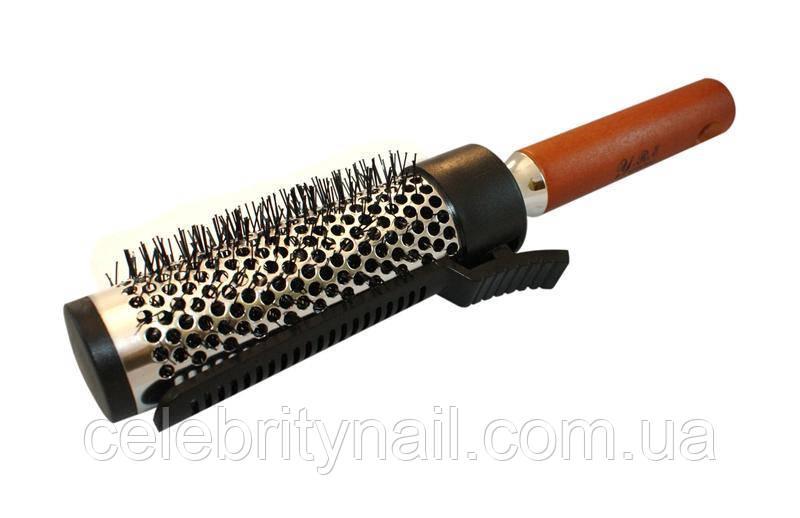 Расчёска для волос, термо, круглая, с зажимом  9506CW