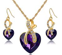 Набор позолоченный с фиолетовыми камнями