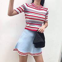 Костюм женский трикотажный (кофта+юбка) в полоску