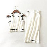 Костюм женский трикотажный топ и юбка белый