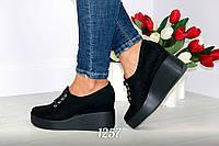 Замшевые черные   туфли  на танкетке с 35 по 40 р